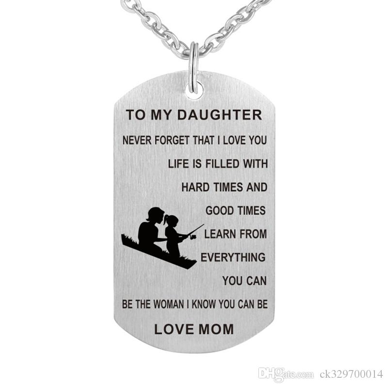 10cswholesale To my daughter never forget i love you...love mom pendant necklace for children jewelry gift