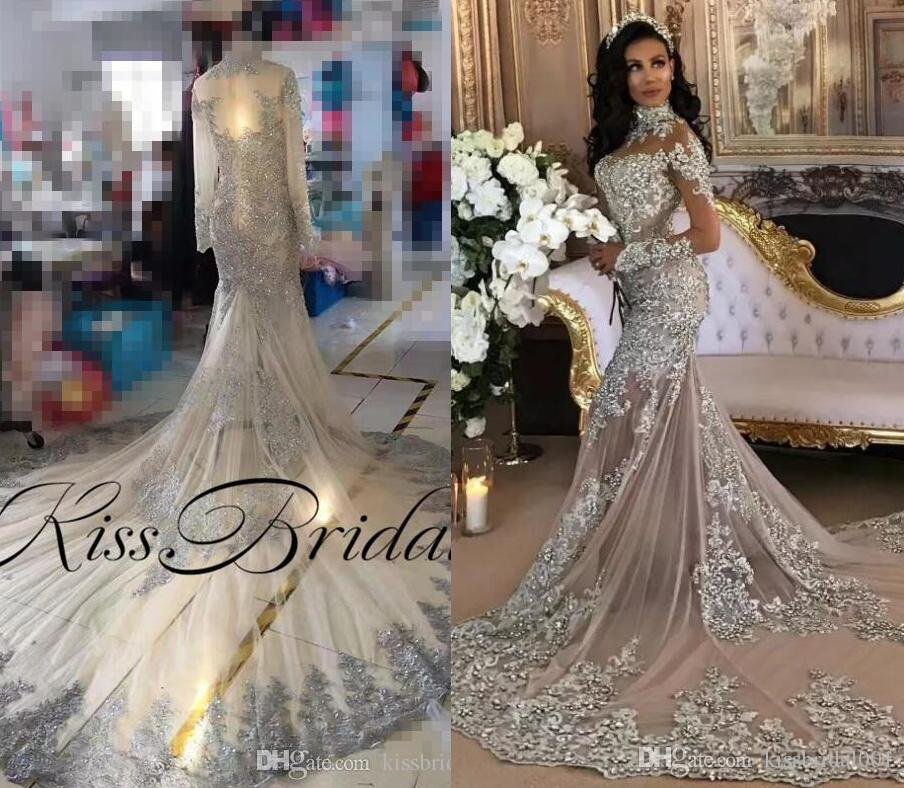 Silver Wedding Gowns: Silver Vintage Lace 2019 Wedding Dresses Crystal Long