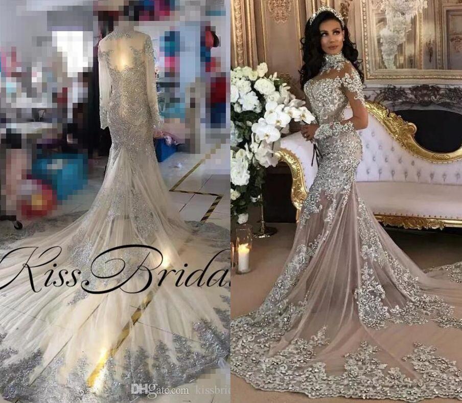 Vintage Wedding Dresses For Sale South Africa: Silver Vintage Lace 2019 Wedding Dresses Crystal Long