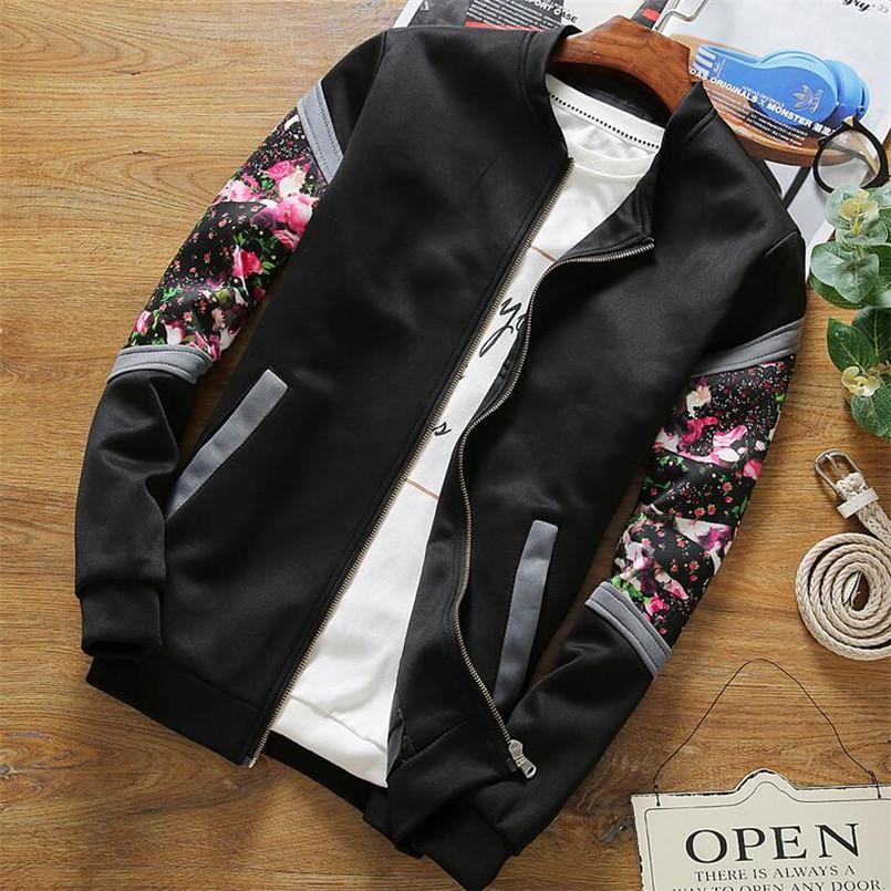 e8cb8ca10e83 Men S Jacket Floral Printed Slim Fit Fashion Flower Jacket Men Outwear  Stand Collar Jacket Male Baseball Uniform M 4XL D18101306 Down Jacket Coats  And ...