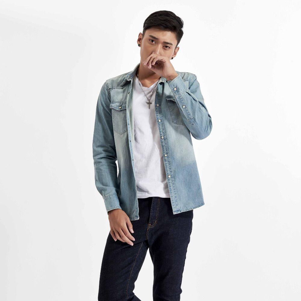 2019 2018 New Men Jeans Long Sleeves Shirt European Style Slim Fit Shirts  Blue Work Wear Men Denim Shirt Chemise Homme Male Coat From Donahua dd801bacb