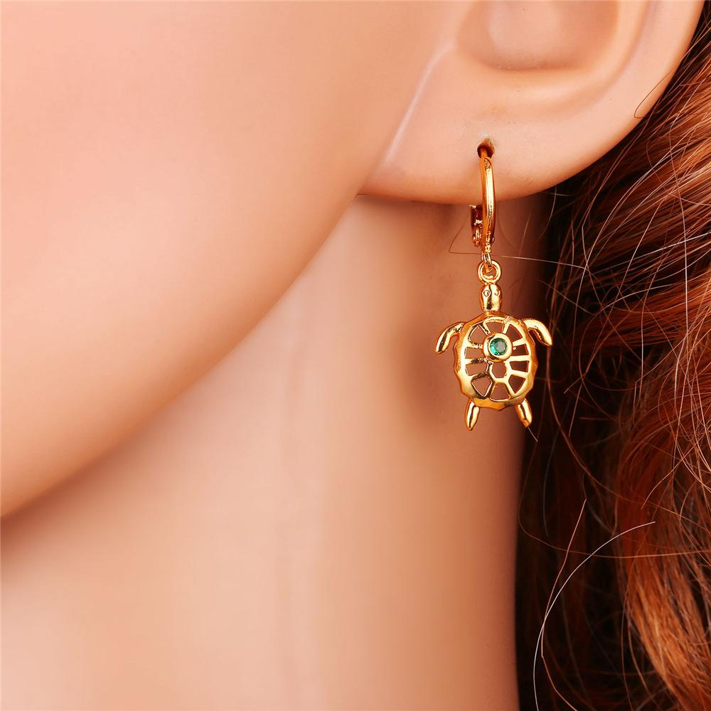U7 New Gold Color Women Jewelry Set Trendy Green Cubic Zirconia Hollow Charm Turtle Beach Earring Necklace Sets S858