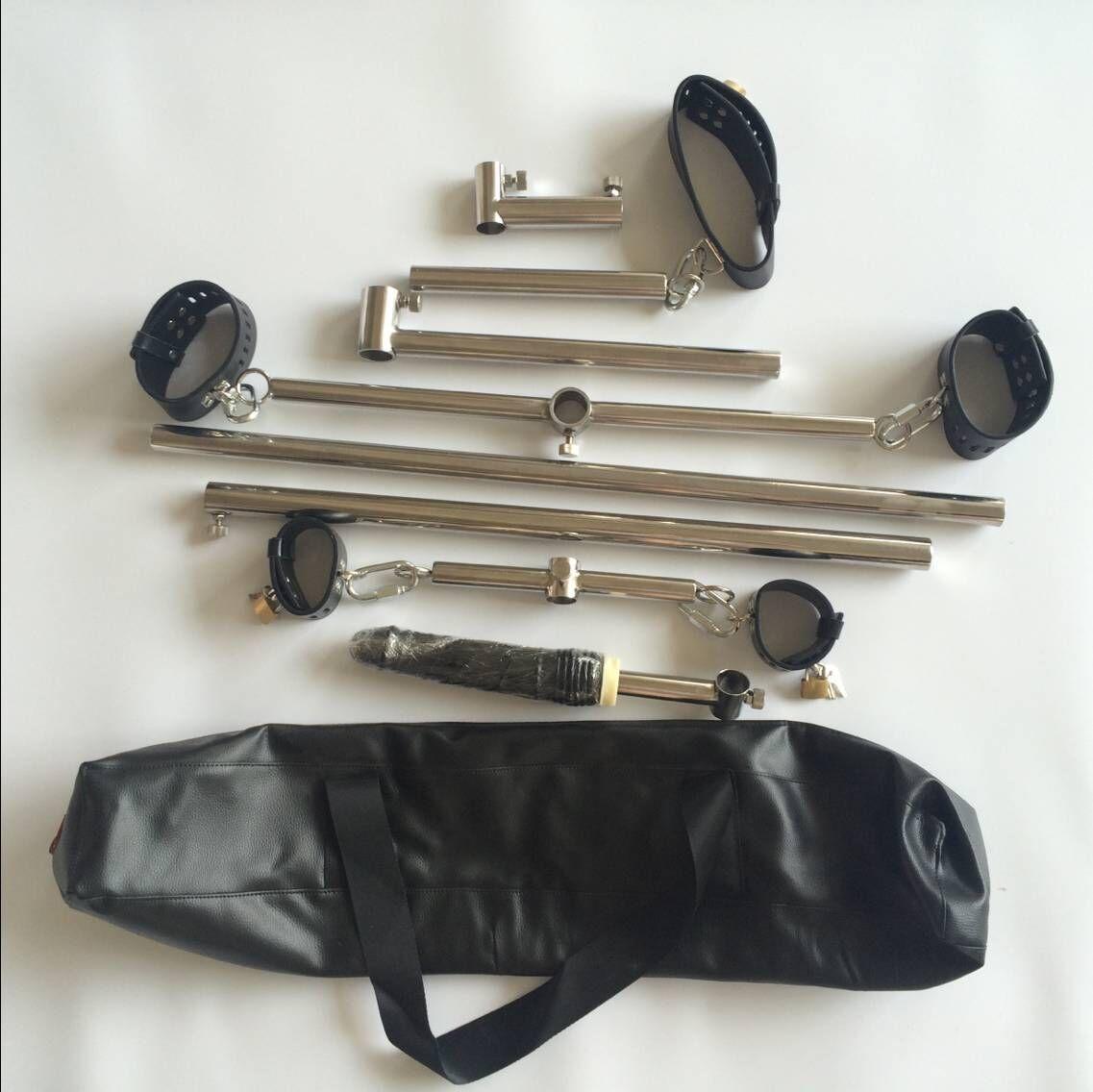 스테인레스 스틸 본디지 프레임 개 노예 장치 수갑 족쇄 + 발목 팔목 + Collor 속박 억제 남성 / 여성을위한 섹스 제품