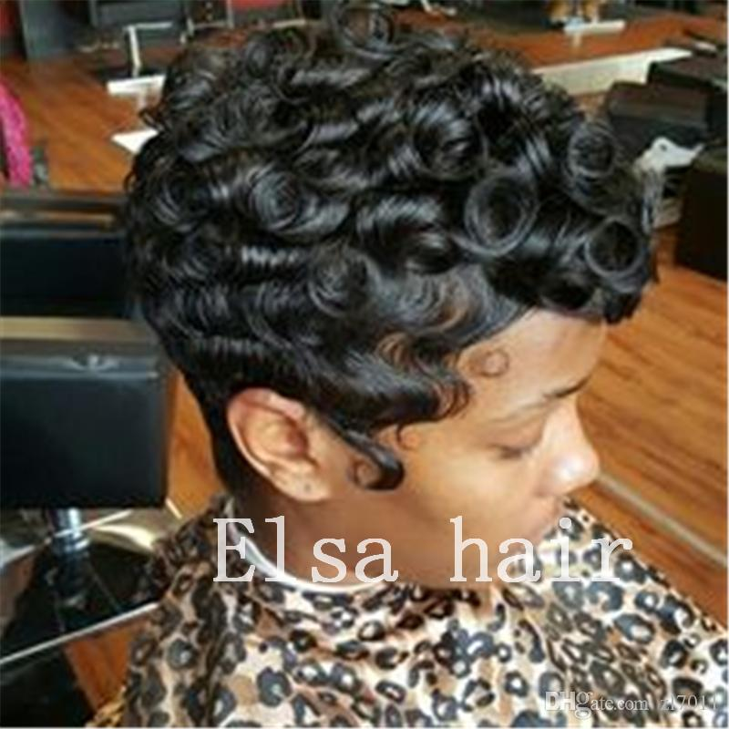 black short Curly hairstyles finger waves hairstyles capless human hair  wigs for black woman