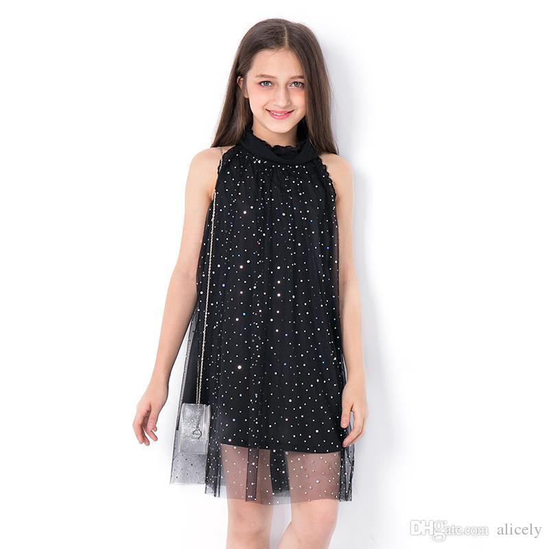 2b64e203ecb3 Großhandel 2018 Kinder Pailletten Kleid Teen Mädchen Mode Sommer Mesh A  Linie Kleider Kinder Vestidos Kleidung Für Teenager 8 9 10 11 12 13 14y Von  Alicely, ...