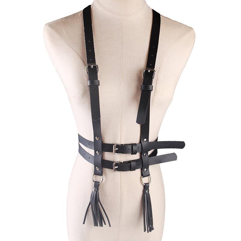 PU Harness Garter Belt Body Punk Straps Suspenders Women Faux Leather