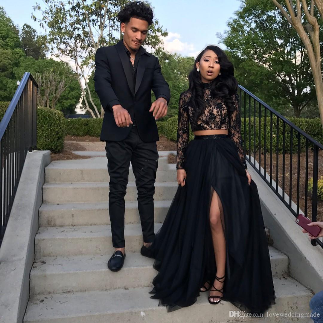 Cheap Black Two Pieces Prom Dresses Lace Top Slit Tulle Skirt 2019 Evening Gowns Long Sleeves Party Occasion Wear HOTTEST
