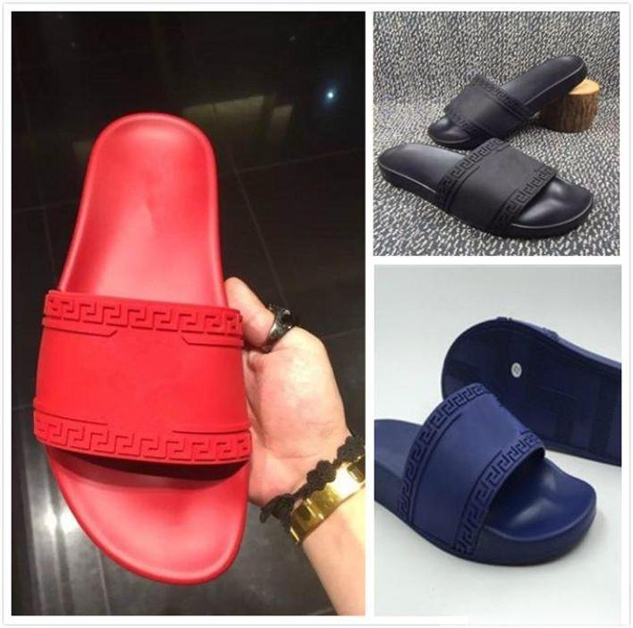 4e6bbeec9e4010 2018 Europe Brand Fashion Mens Women Striped Sandals T5Versace ...