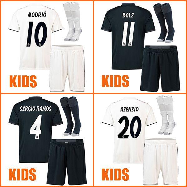 Compre 2018 2019 Camiseta De Fútbol Real Madrid Para Niños ASENSIO ISCO  BALE MARCELO Camiseta De Futbol 18 19 Kits Para Niños SERGIO RAMOS Maillot  De Foot A ... a4ea2f09ee231