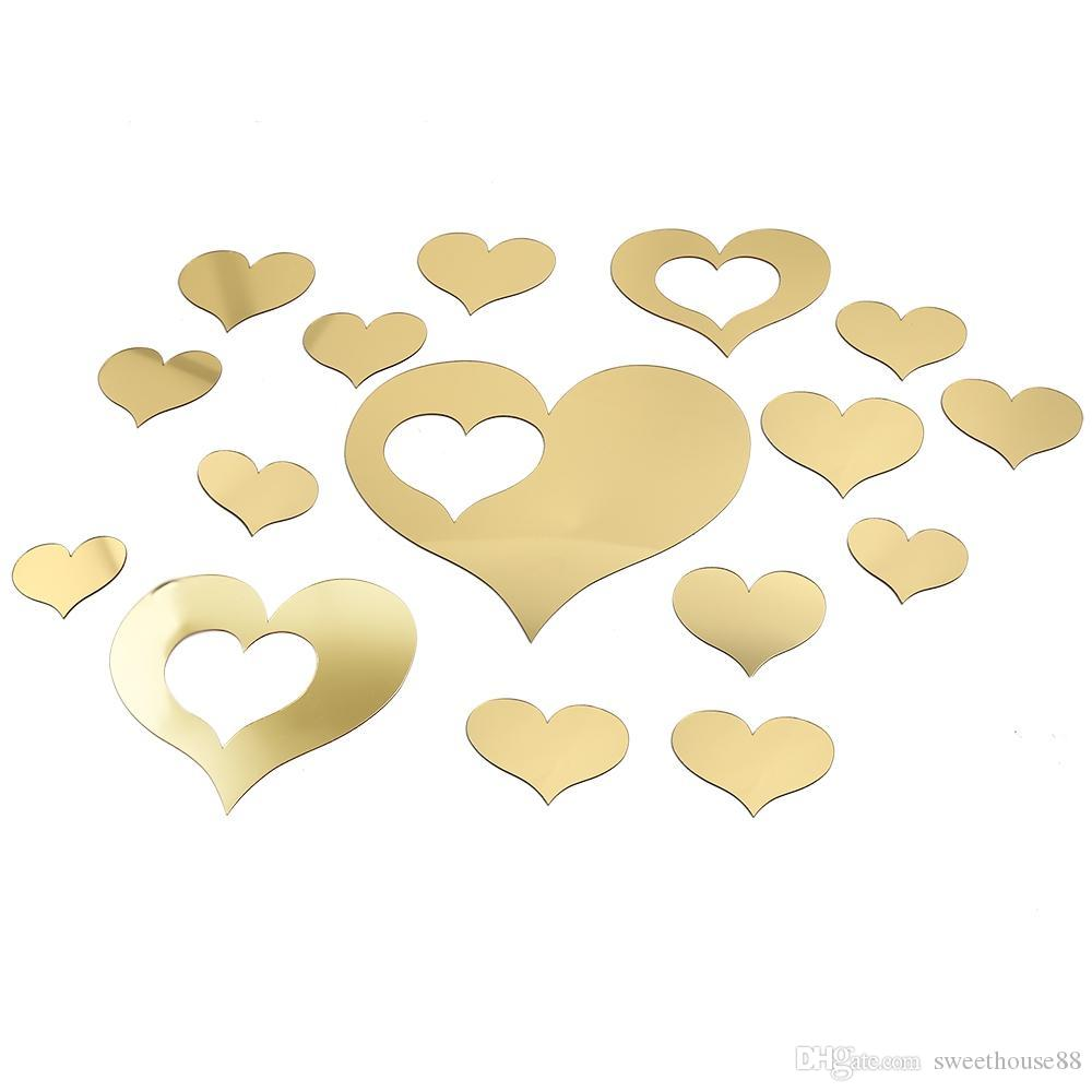 Diy Heart Shaped Mirror Effect Wall Sticker Bedroom Plastic ...