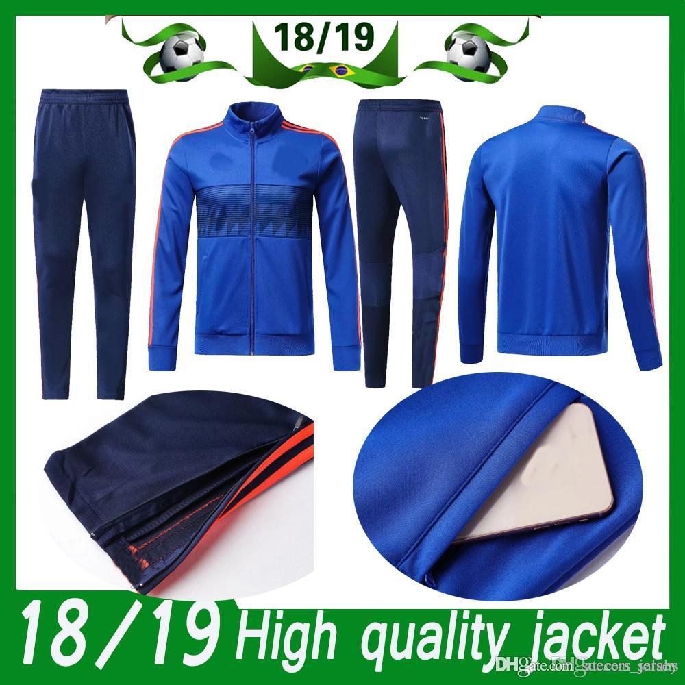 db3e1be1100 Columbia Long Sleeve Jacket Suit adult Kit Soccer Jersey Training Uniform  2018 19 Columbia jacket Football Suits Jacket+Pants