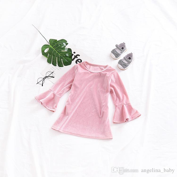 2018 New Baby Girls Dresses INS Hot Sale Spring Autumn Velvet pleuche flare sleeve princess party dress Kids Fashion Dress Z11