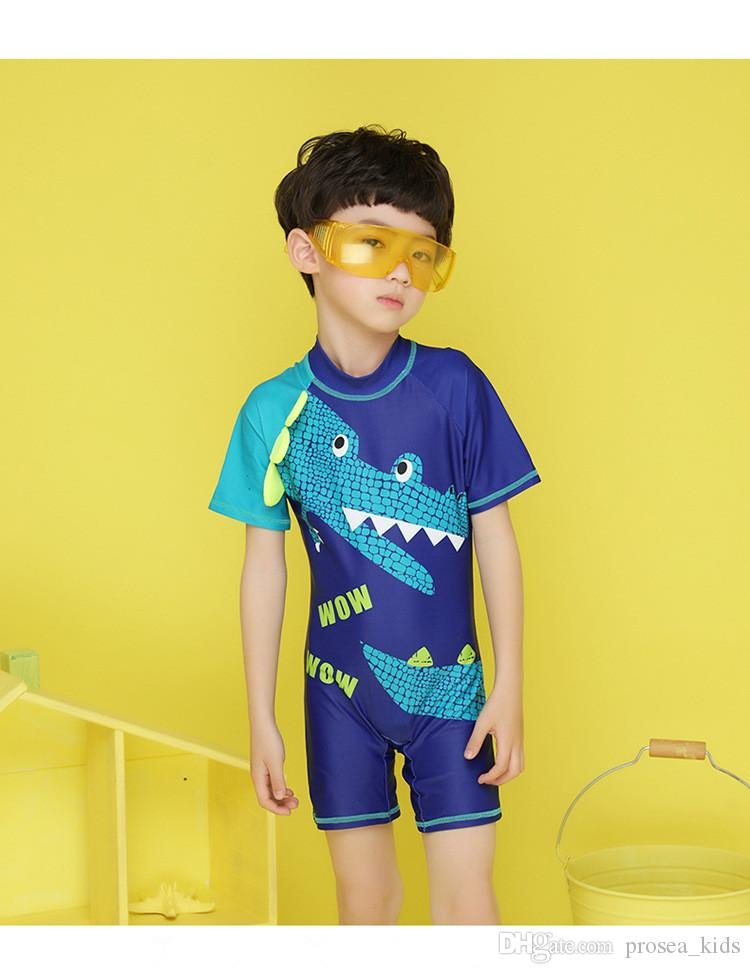 250c9f315c07a PROSEA 2pcs/set Cool Boys One-piece Swimsuits+Swimming Cap Kids Dinosaur  Print Short Sleeve Swimwear Children Bathing Suit Beachwear