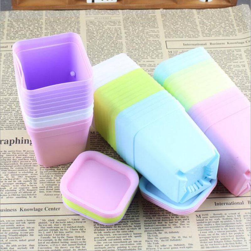 Color Thick Plastic Flower Pot Colorful Fleshy Flower Pot Nursery Small Square Pot Plant Potted Tools Household Items