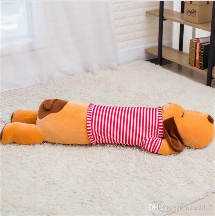 Cute Stripe Lie Prone Papa Dog Plush Toy Stuffed Dolls Sleeping Pillow Cushion Baby Best gifts for Children