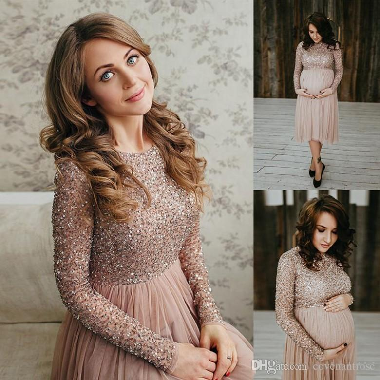 New Design Long Sleeve Maternity Prom Dresses For Pregnant Women Sequin  Shiny Knee Length Beaded Short Evening Dress Cheap Formal Dresses Silk Prom  Dresses ... 4861205dcd0e