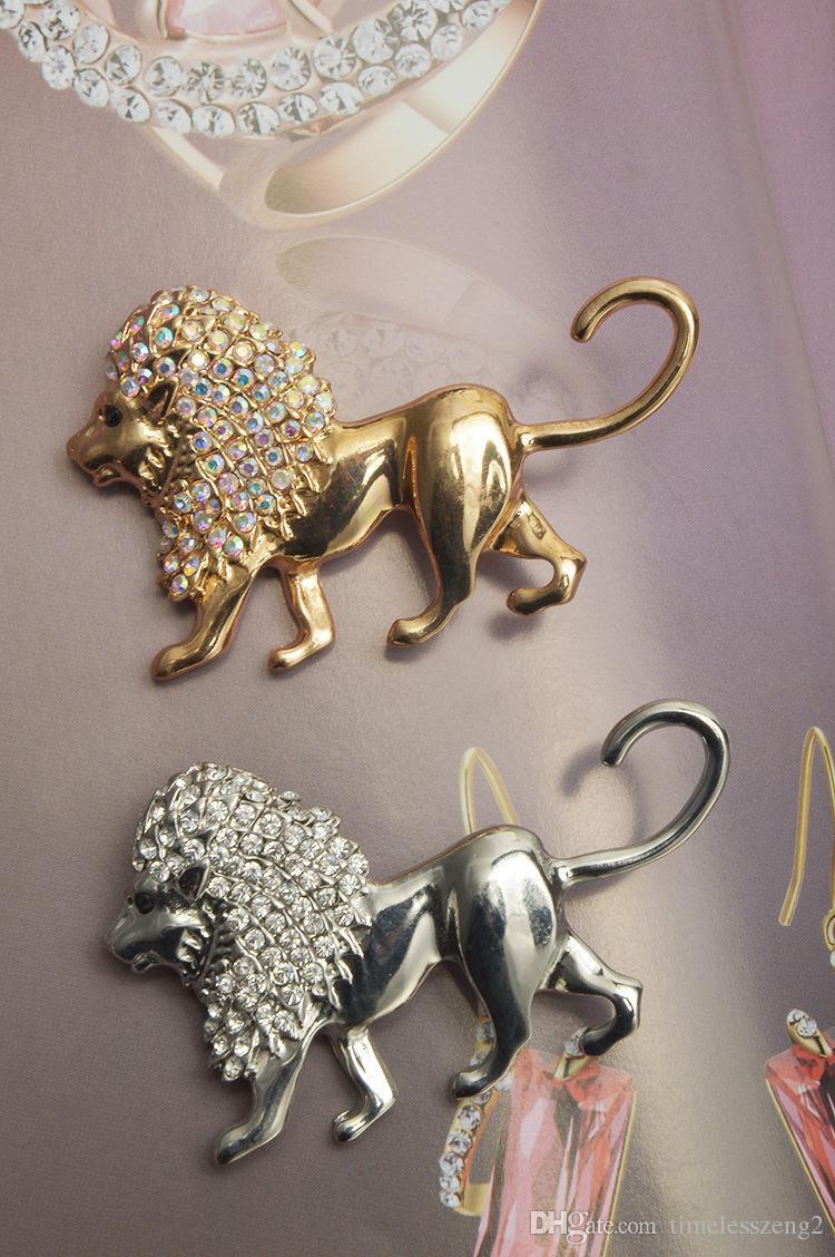 Personalisierte afrikanische Lion Brosche Zink-Legierung mit Strass Tier Broschen für Herren männlichen Dekoration Mode Designer Broches Pins