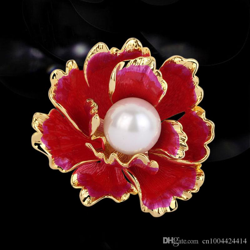 bf3e577626f 2019 Top Quality Gold Plated Blossom Peony Flower Brooch Luxry Nobal Color  Enamel Apparel Accessory Elegant Fabulous Hijab Wear Decoration Pin From ...