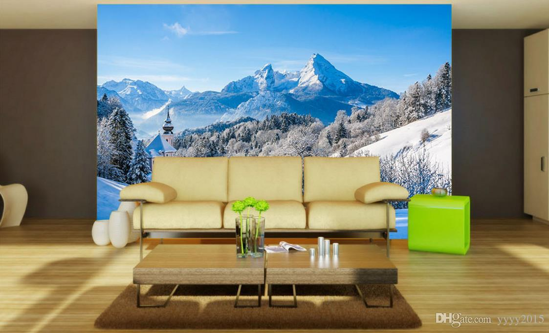 wallpaper white 3d nature wallpapers Nordic snow-capped mountains beautiful scenery TV backdrop decorative painting