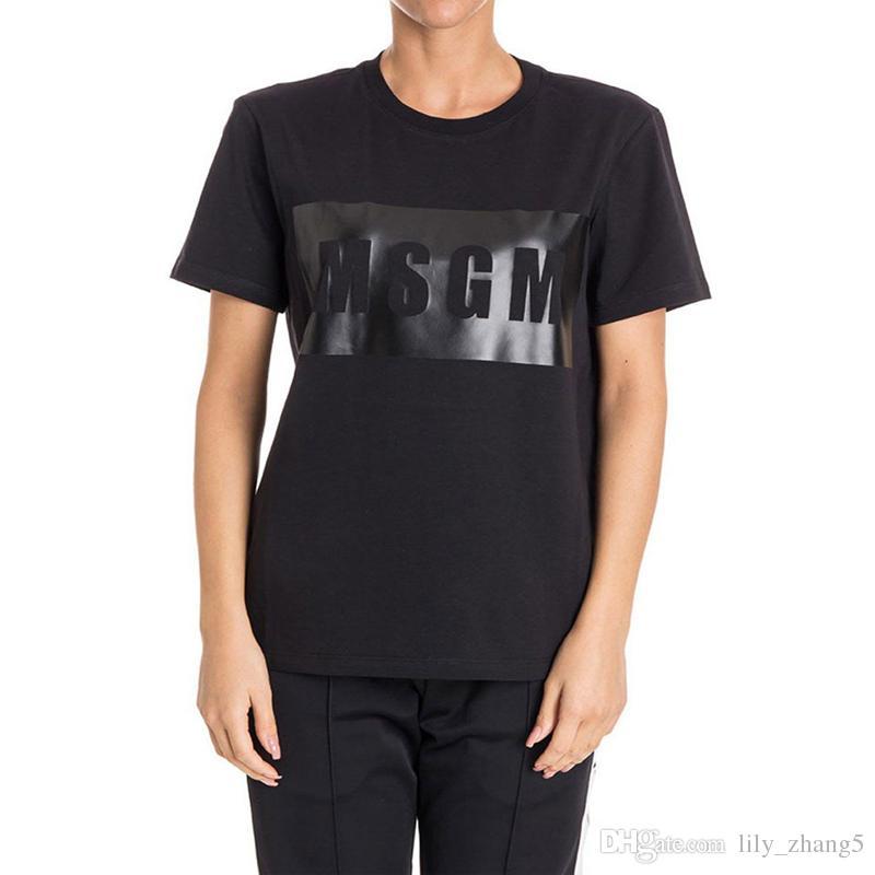 Envío gratis - Hombres / mujeres de alta calidad MSGM Camiseta de verano Pareja Marca Carta Tops impresos Algodón Casual manga corta O-cuello camiseta
