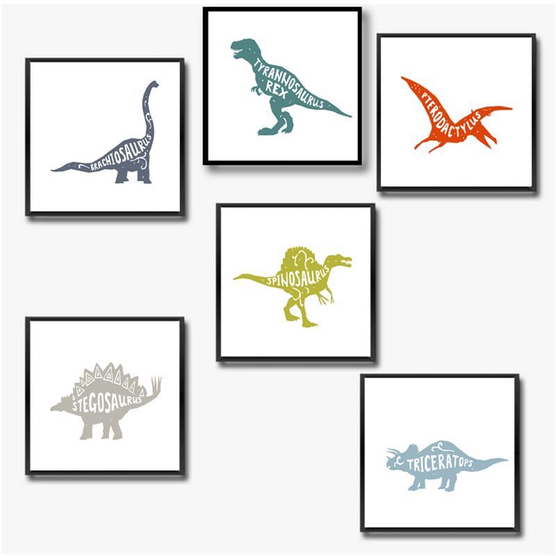Satın Al Dinozor Dekor Tuval Boyama çocuk Odası Duvar Sanatı Resim