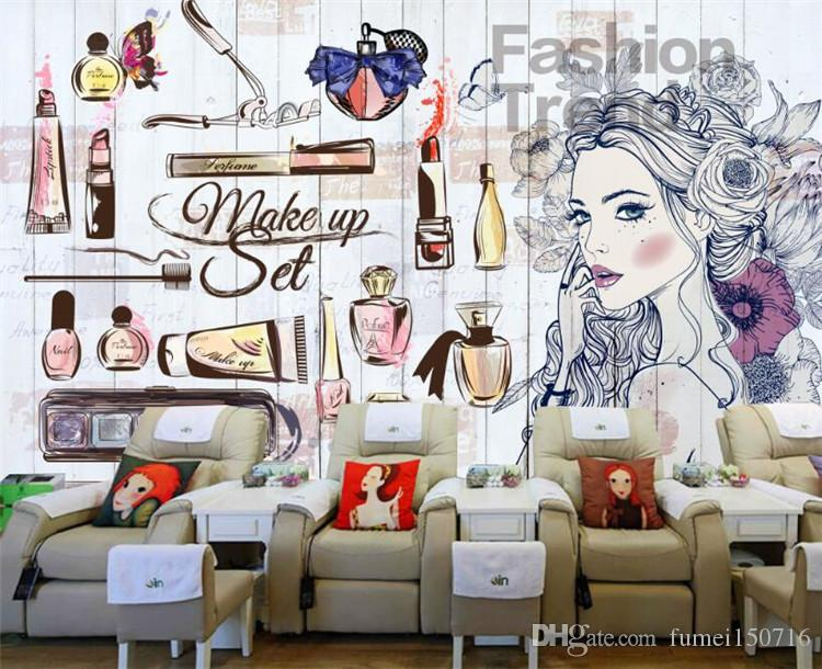 Personality wallpaper nail shop beauty shop hand painted girl clothing shop backdrop decorative painting 3d wallpaper