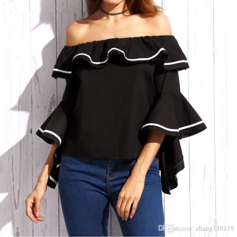 39fd17c0003 2019 Fashion Women Blouses 2018 Summer Sexy Tops Butterfly Sleeve Slash  Neck Off Shoulder Shirts Casual Ruffles Blusas Femininas From Zhang110119