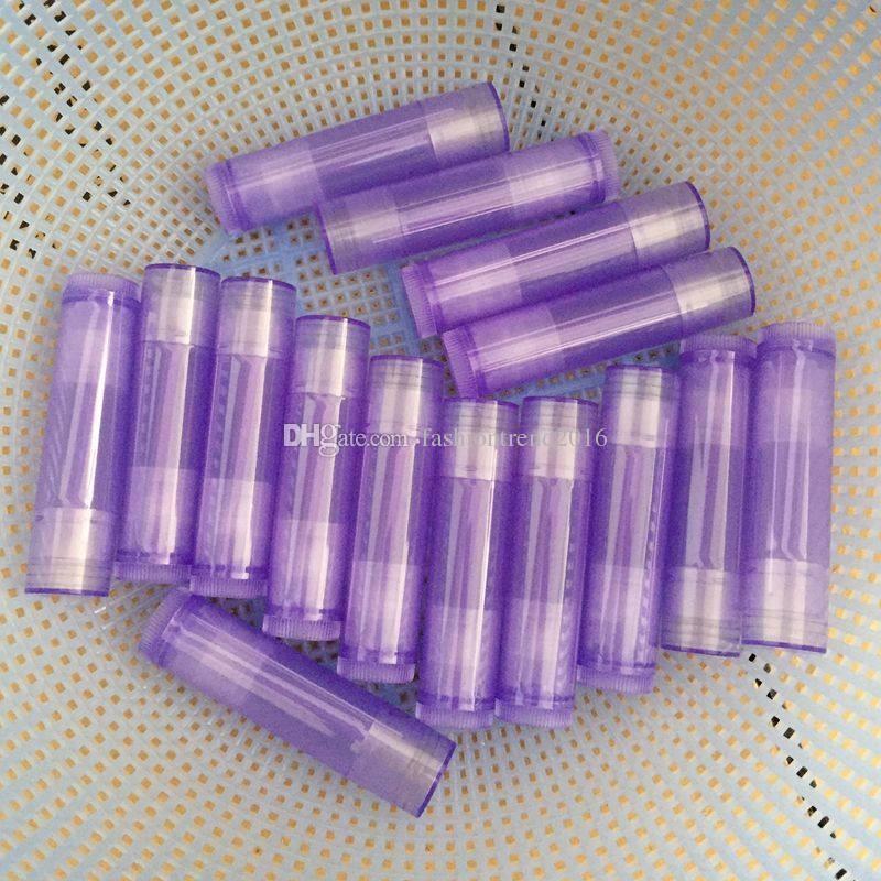 5g Transparente Cor Roxa Batom Tubo Fino Tubo Lipbalm Embalagem Case Lip Recipiente Lip Gloss Recarregável Garrafa de Cosméticos ferramentas