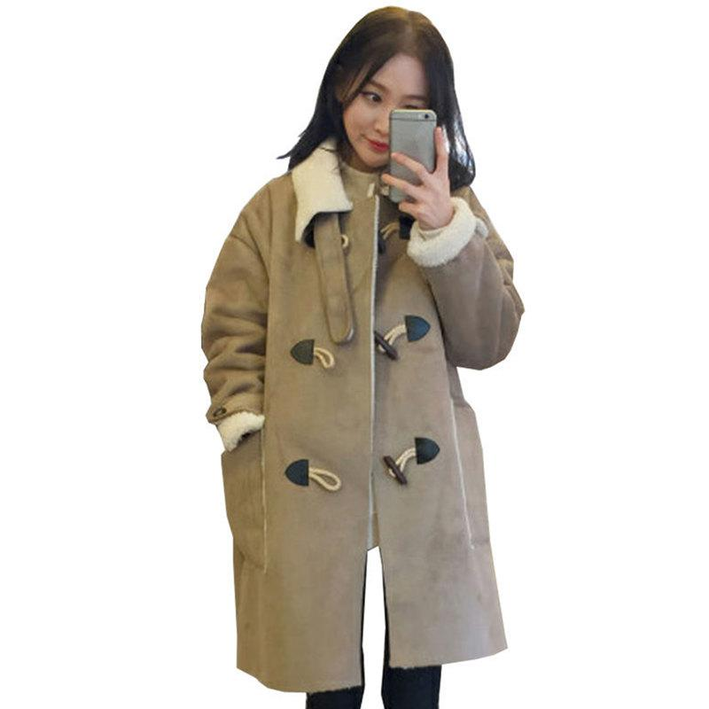 new style bab91 256ba Autunno Inverno Donna lungo camoscio giacche cappotto caldo addensato lana  di agnello faux pelle scamosciata giacche cappotto pulsante camoscio ...