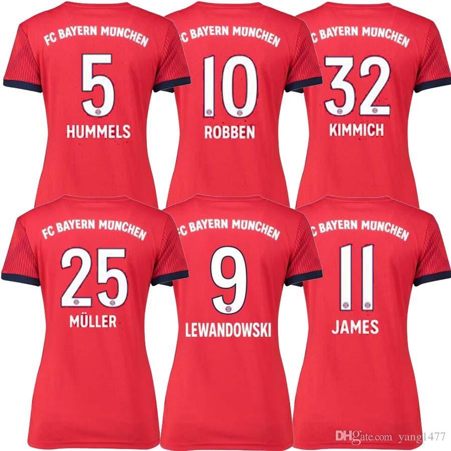 2018 2019 Bayern Munich James Women Soccer Jersey Home Red 2018 2019 VIDAL  LEWANDOWSKI MULLER ROBBEN TOLISSO Away HUMMELS Football Shirts UK 2019 From  ... 73dfc28f4
