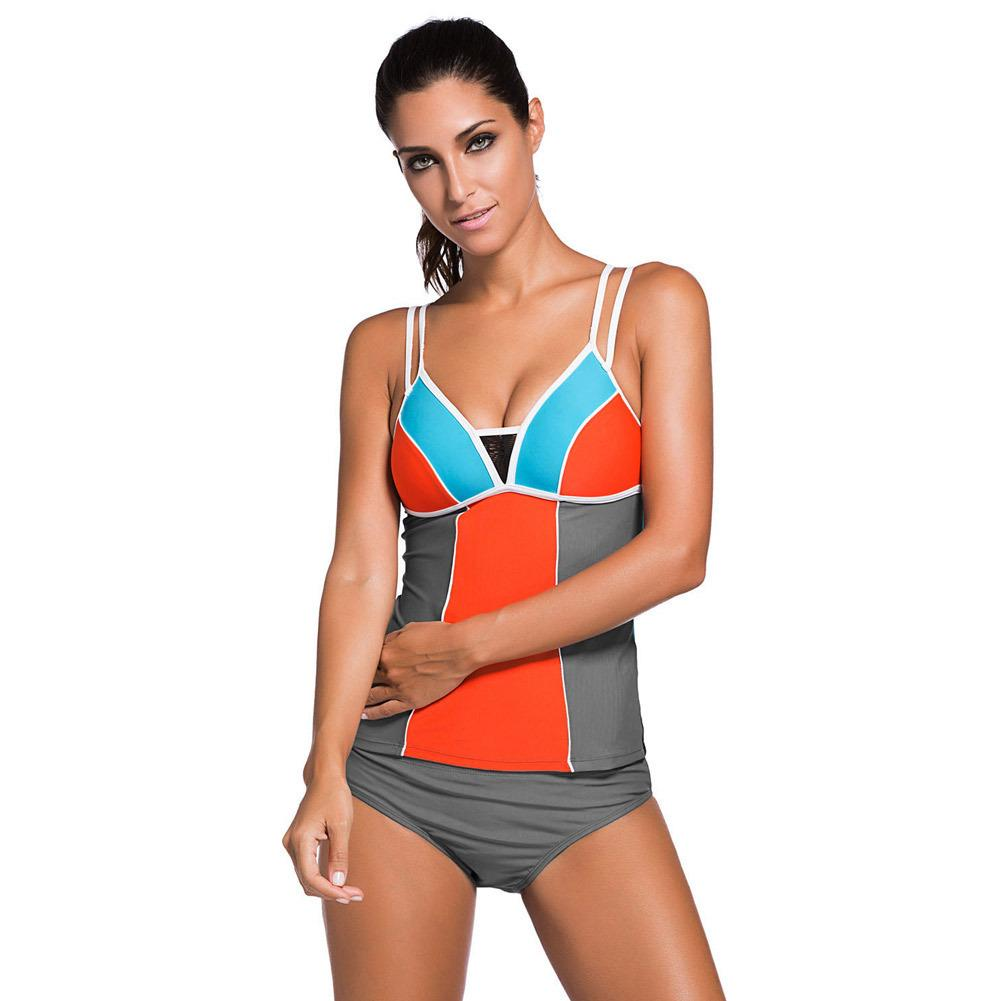 cc0717dd12aba 2019 Sexy Women Summer Beach Swimwear Swimsuit Color Block Two Pieces Sets  Bikini Bottom With Tankini Tops From Xuxiaoniu1, $21.22 | DHgate.Com