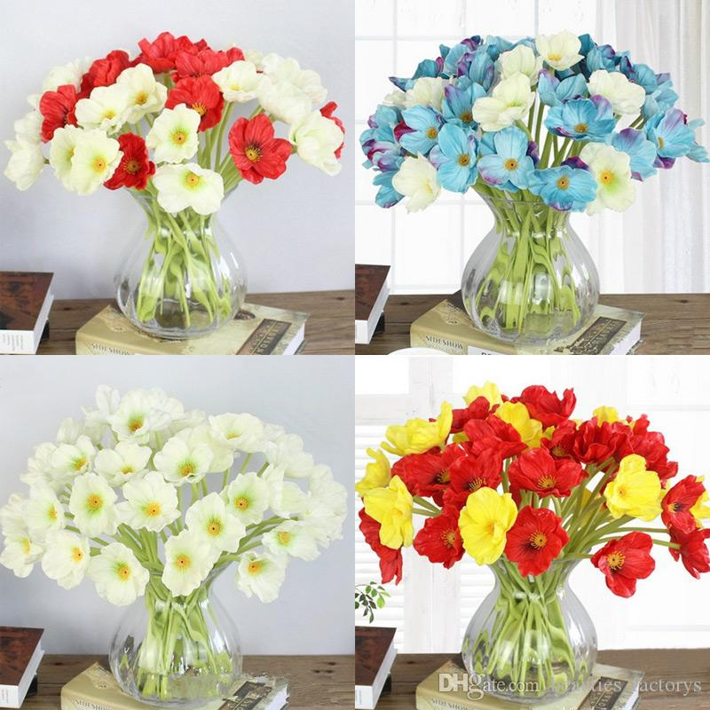 Silk Fake Poppy Flower Home Furniture Simulation Vivid Beautiful Real Touch Flowers For Wedding Party Table Decorative