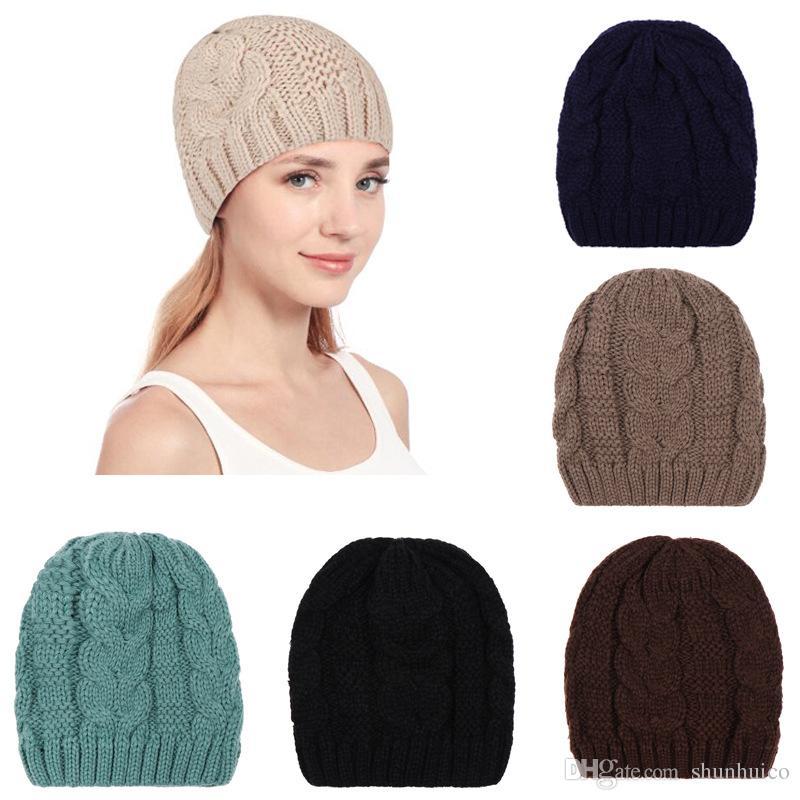 Großhandel Frau Beanie Winter Warme Hüte Häkeln Cap Mütze Stricken