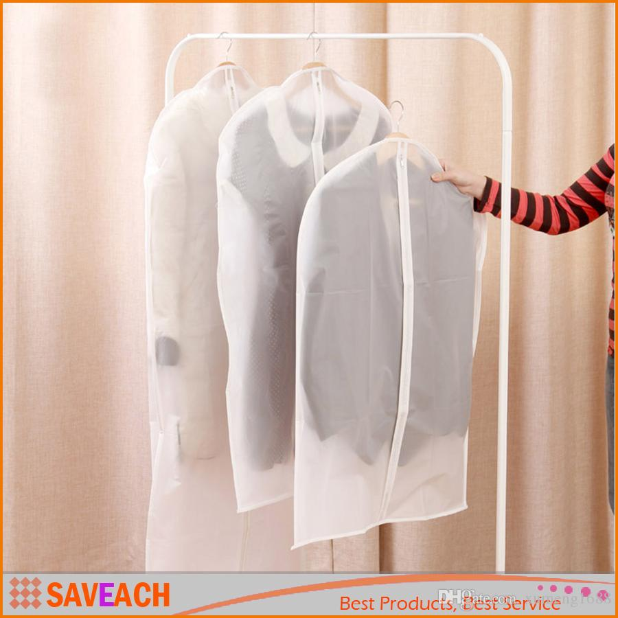 Dress Clothes Garment Suit Cover Case Dustproof Coat Storage Bags Protector - Transparent Zipper Wardrobe Storage Bag
