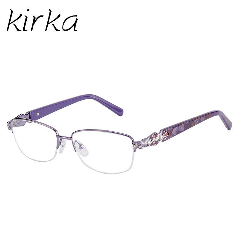 f60a899f2e Kirka Fashion Women Brand Designer Metal Eye Glasses Graceful Half ...