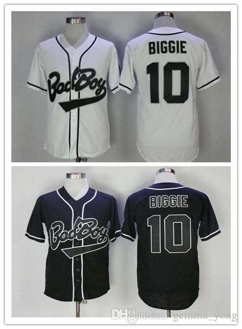 Cheap 10 Biggie Smalls Bad Boy Black White Jersey Baseball Men's Biggie Smalls Stitched Cool Base BadBoy Shirts With 20th Years Patch