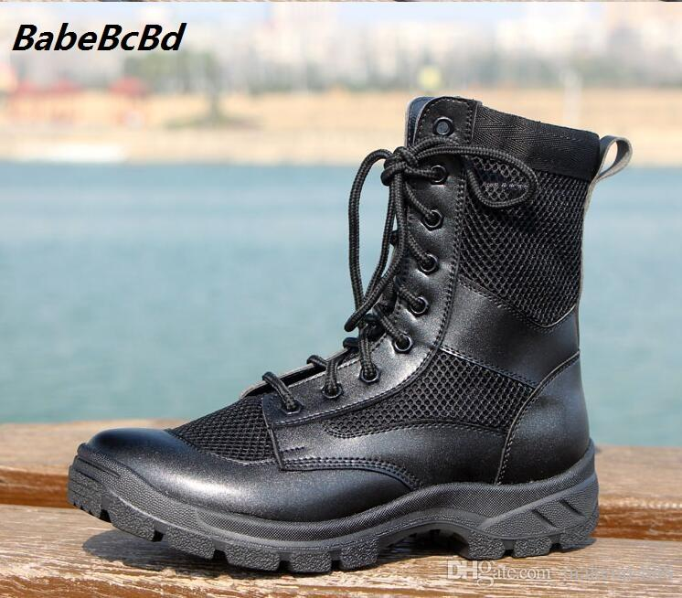 outlet store 52711 8cd65 2018 Seasonal men outdoor breathable mesh ultra-light leather high-top  climbing work boots security boots training boots