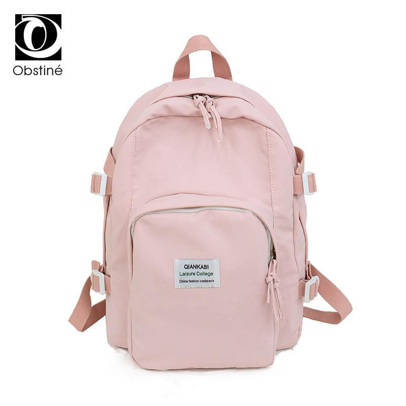 3cd8f8ff80c4 2019 Fashion Women Backpack Schoolbag For School Girls Nylon Waterproof  Backpacks Woman 2018 Solid Pink Bagpack For Girls Teenagers Bag Pack Kids  Backpacks ...