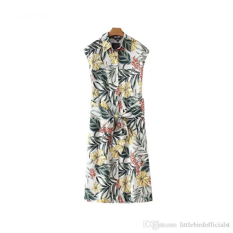 Женщины стильный цветочный принт платье миди без рукавов галстук-бабочку нерегулярные женские офисные платья шикарные платья свадебные платья