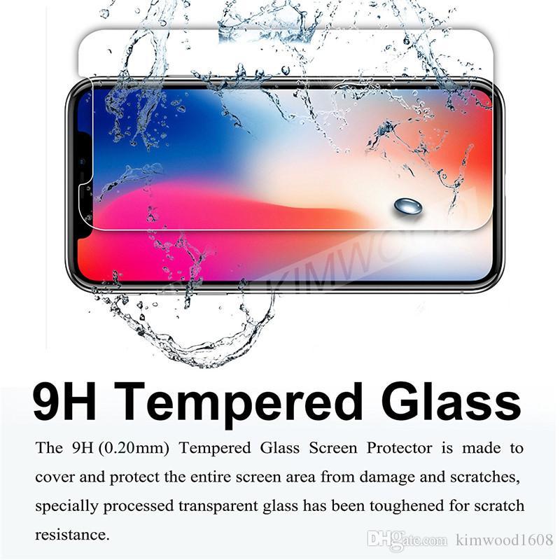Pour NOUVEAU Iphone XR XS Max Film de protection d'écran en verre trempé 9H 2.5D pour Galaxy J3 J7 Prime WithPackage