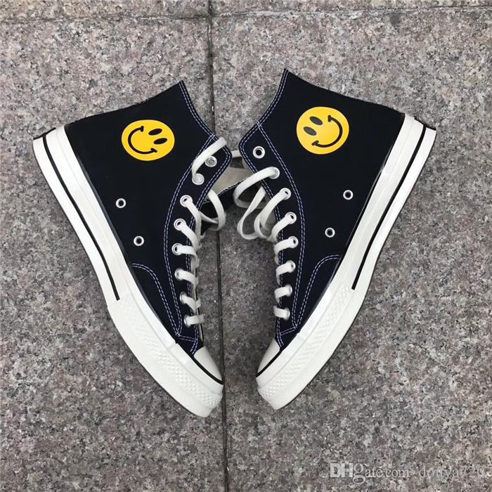 a1e322ce233 With Shoe Box 2018 New Chinatown Market X 1970s Smiling Face Canvas Shoes  Smile Designer Skate Shoes Men Women Casual Sneakers Chaussures Cheap Shoes  For ...