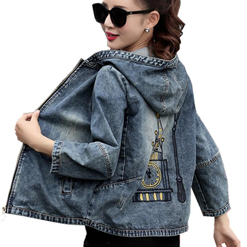 a88c0433e63 Plus Size 4XL 5XL 2018 Spring Bomber Jacket Women Embroidered Denim Jacket  Bombers Hooded Jaqueta Jeans Women Basic Coats C3191 Womens Leather Jackets  Coats ...