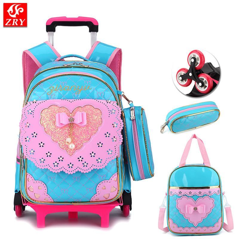 da7e73f22426 Children 2 6 Wheel Trolley Schoolbag Waterproof PU Kid Backpack Bow Design  Orthopedic School Bags Teenagers Girl Travel Luggage Small Backpacks  Vintage ...