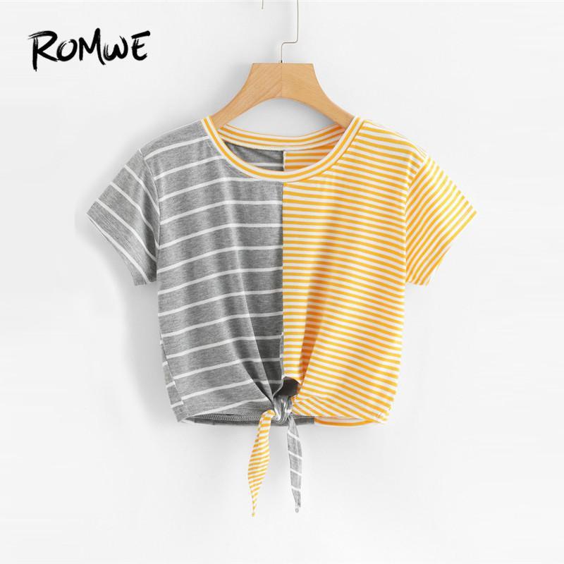 239a74f6e3f ROMWE Contrast Striped Knot Front Crop Tee Shirt Regular Women Summer  Casual Crop Top Colorblock Knot Front Short Sleeve T-Shirt
