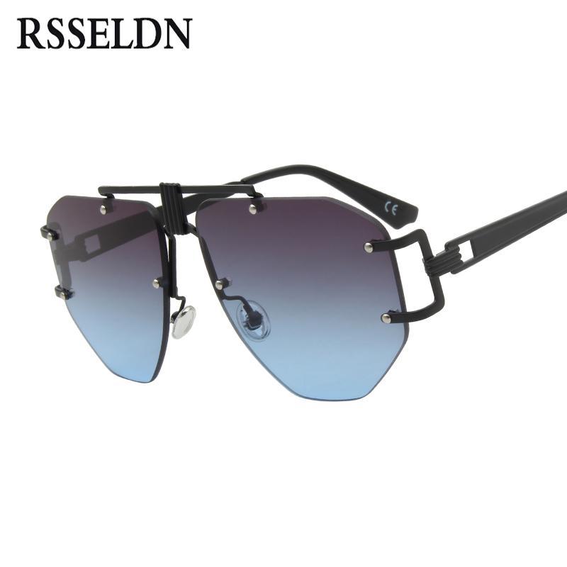 96e763139a RSSELDN Vintage Large Rimless Sunglasses Women Brand Sesigner Glasses Retro  Brown Yellow Oversize Goggles Mens Black Sunglasses Cat Eye Sunglasses  Round ...
