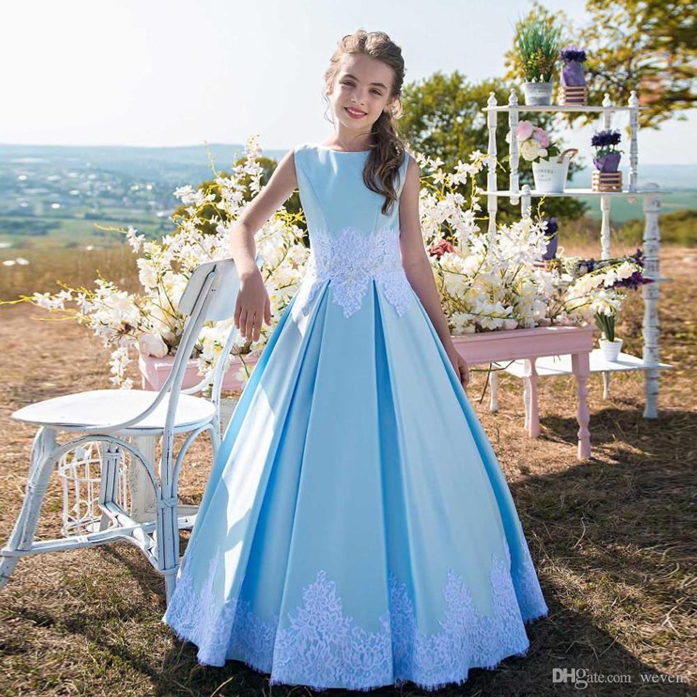 82ddd7abc03 Lovely Blue A Line Floor Length Kid Birthday Dresses Jewel Neck Sleeveless  Lace Appliques Satin Baby Girls Prom Gown For Wedding Beaded Flower Girl  Dresses ...