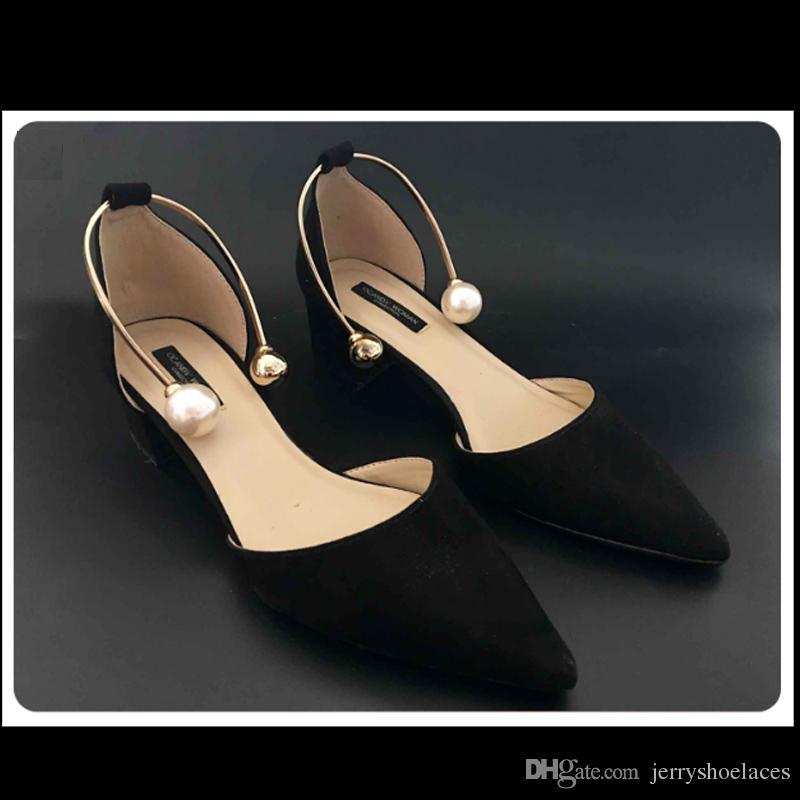 U-shaped Metal Pearl Shoes Accessories Anti-loose Shoes Ornament Elegant Belt For Women's High Heels