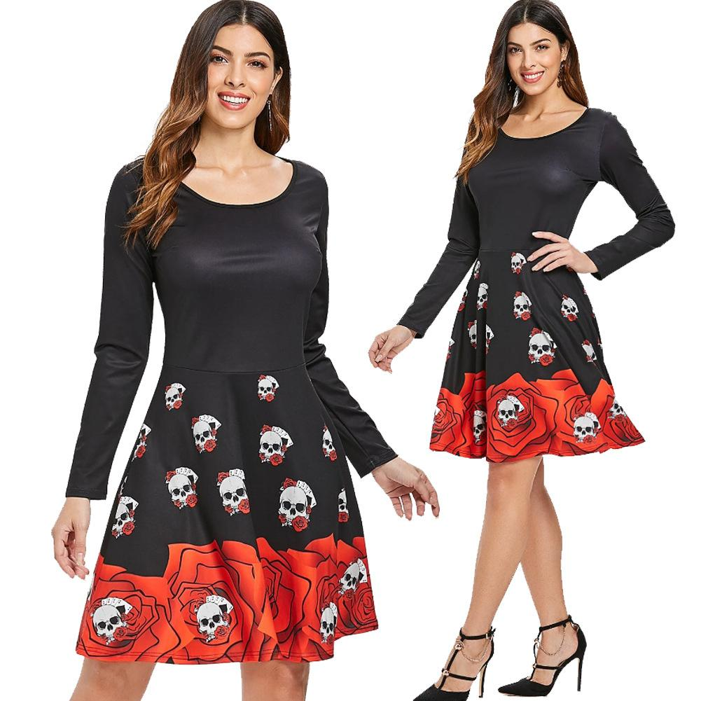 ac4d9a0a627 Casual A Line Dresses Skull Print Halloween Dresses Long Sleeve Slim Fit  Vintage Black High Waist Dress Casual Long White Summer Dresses Cute  Dresses Women ...