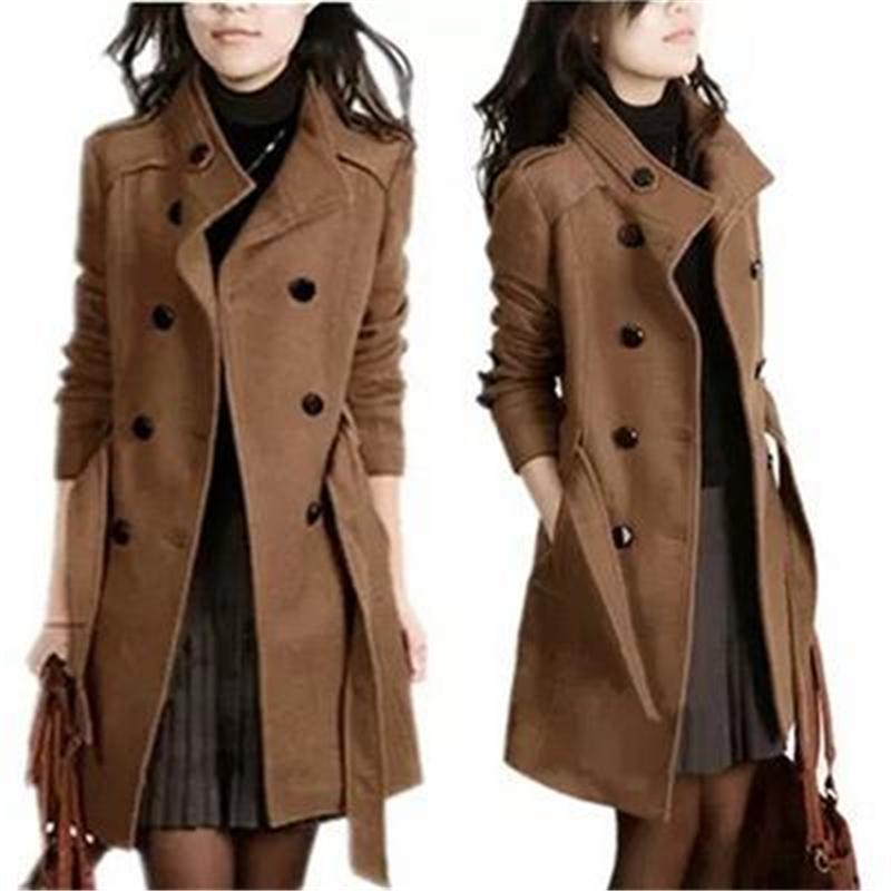 2d230493d Women Woolen Coat Winter Slim Coats Double Breasted Overcoat with Long  Sleeve Ladies Outerwear Wholesale