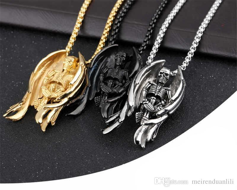 Cool Skeleton Wing Pendants&Necklaces Hip Hop Jewelry Gold/Silver/Black Color For Men Stainless Steel Luxury Jewelry New Arrival Necklace